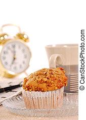 Banana nut muffin with alarm clock - Freshly baked banana...