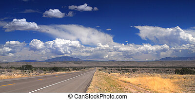 Desolate road in New Mexico - Desolate stretch of road in...