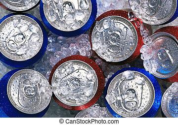 latas, bebida, esmagado, gelo