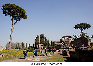 Palatine Hill - View on the Palatine Hill with a group of...