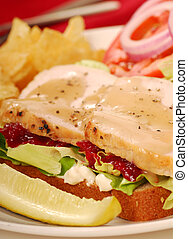 Turkey sandwich with potato chips and dill pickle