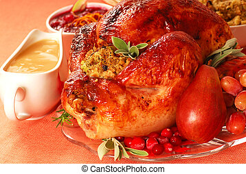 Turkey with stuffing, gravy and cranberry sauce - Turkey...