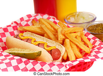 Hot dog with french fries - Freshly grilled hot dog with...