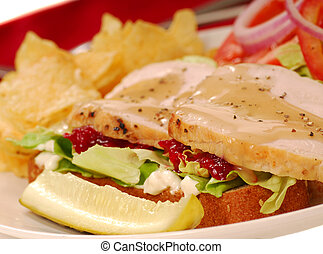 Turkey sandwich with potato chips and a dill pickle