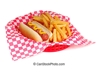 Hot dog and fries - Freshly grilled hot dog with mustard and...