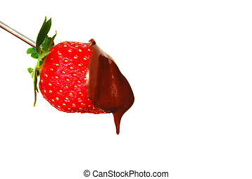 Strawberry with chocolate sauce