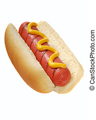 Hot dog with mustard - Freshly grilled hot dog with yellow...