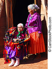 Very old Navajo woman with her daughter - 99 year old Navajo...