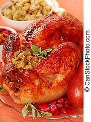 Roast turkey with sage - Roasted turkey with sage and bread...