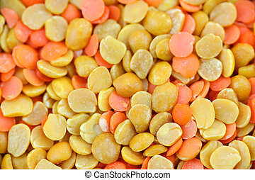 Lentil background - Yellow and orange color healthy Lentils