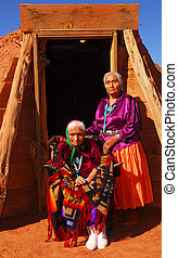 Elderly Navajo woman with her daughter - Elderly 99 year old...