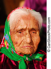 99 year old Navajo woman - Portrait of a wrinkled 99 year...