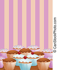 yummy cup cakes - a selection of cup cakes with pink strippy...