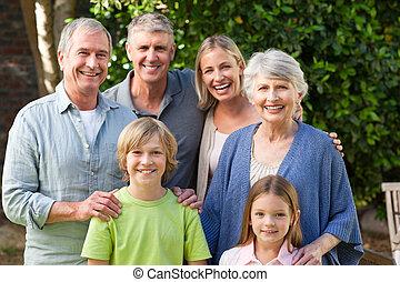 家庭, 看, 照像機, 花園