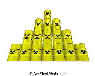 Nuclear waste pyramid - Stacked barrels of nuclear waste...
