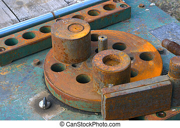 Machine tool. - Fragment of the machine tool with corrosion...