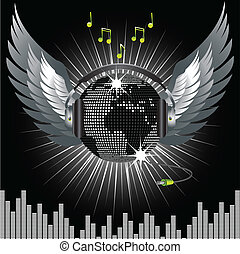 world globe disco ball and wings - black and silver world...