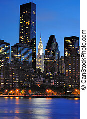 Manhattan Skyline - Vertical view of the New York City...