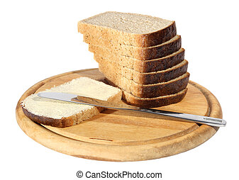 Bread butter a knife on the chopping board