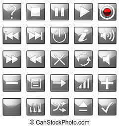 Square grey Control panel icons set