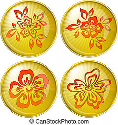 Abstract flowers, buttons