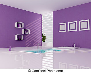 Purple and white minimalist bathroom - contemporary bathtub...