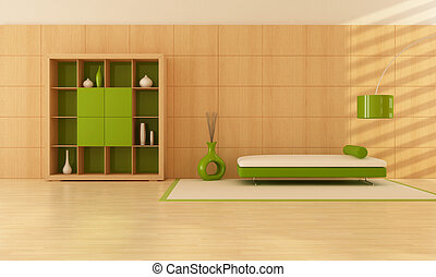 green and wooden interior