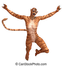 Female Fantasy Figure Tiger 3D rendering with clipping path...