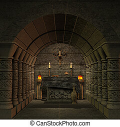 archaic altar or sanctum in a fantasy setting 3D rendering...