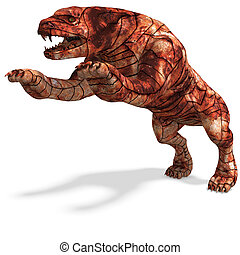 Cerberus - the dog from hell 3D rendering with clipping path...