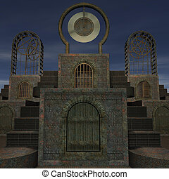 fantasy temple at dawn 3D rendering of a fantasy theme for...