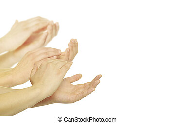 hands - Man is giving applause on a white background