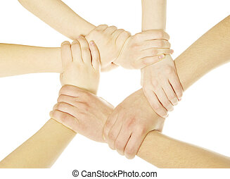 hands - ring of hands isolated on a white