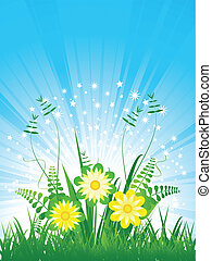 wild flowers amongst grass with blue sky background