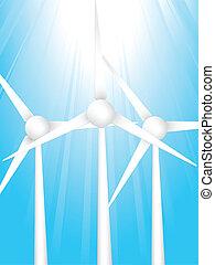 wind turbines - silhouette of wind turbines