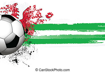 Welsh flag and football - football with grunge effect welsh...