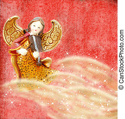 Angel with violin on red background