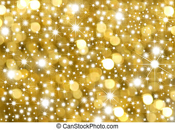 Background gold and stars - Golden background lights and...