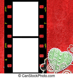 Red frame for two photos of love - Two pictures instant Fund...