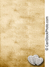 Old parchment with two hearts - Old parchment with space for...