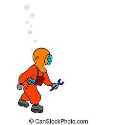 plongeur, -, réparateur, -, vecteur