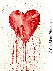 broken heart - bleeding heart - Detail of the painted heart...