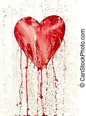 broken heart - bleeding heart - Detail of the painted heart...