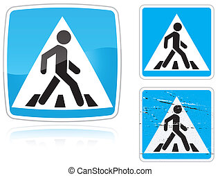Set of variants a Crosswalk road sign isolated on white...