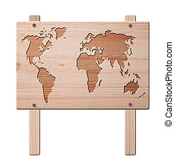 World map sign, isolated, clipping path.