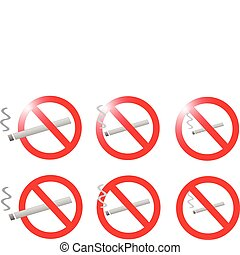 no smoke sign collection vector illustration