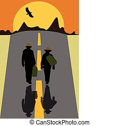 hitchhikers walk along the road