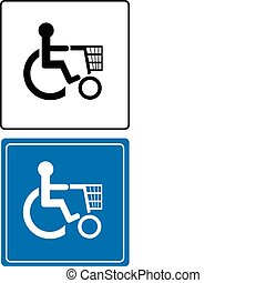 shoping handicapped sign vector illustration