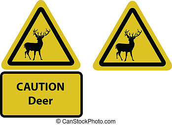 caution deer yellow sign