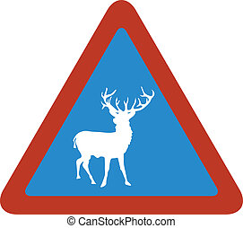 deer blue triangle sign